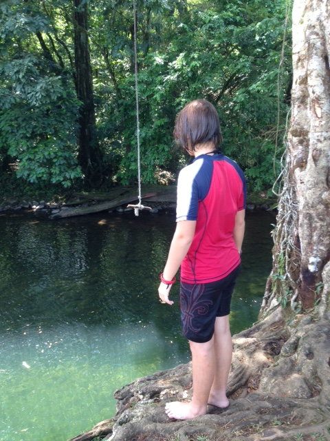 Tom and Esteban's preferred swimming hole has an awesome rope swing.