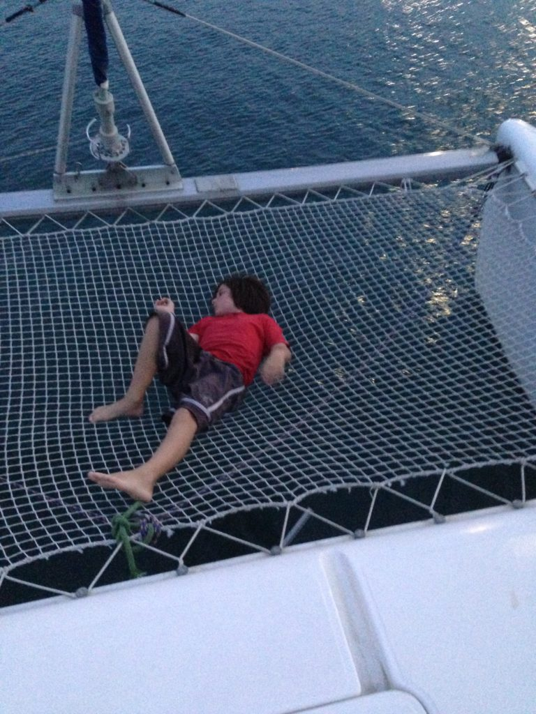 There wasn't a lot for a line handler to do while motoring to the Miraflores Locks except roll around in the nets.
