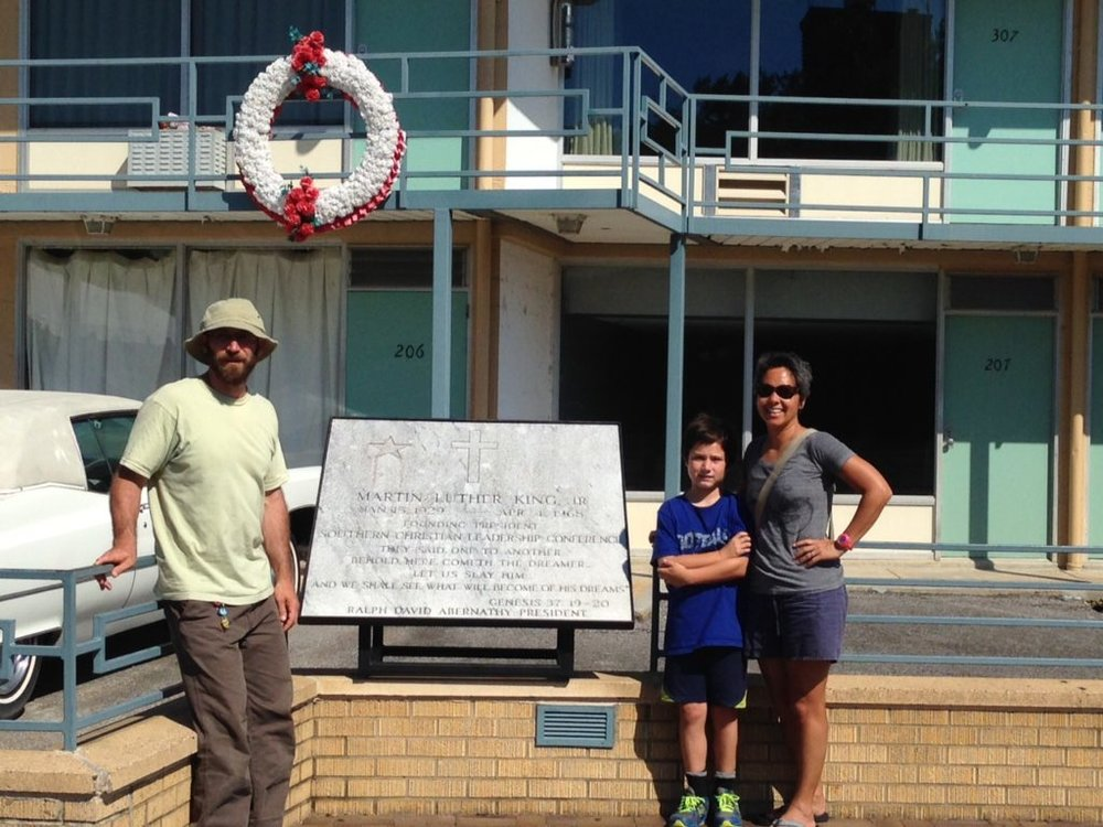 Family photo at the Lorraine Motel, Memphis, TN, site of Dr. Martin Luther King Jr.'s assassination in 1968.