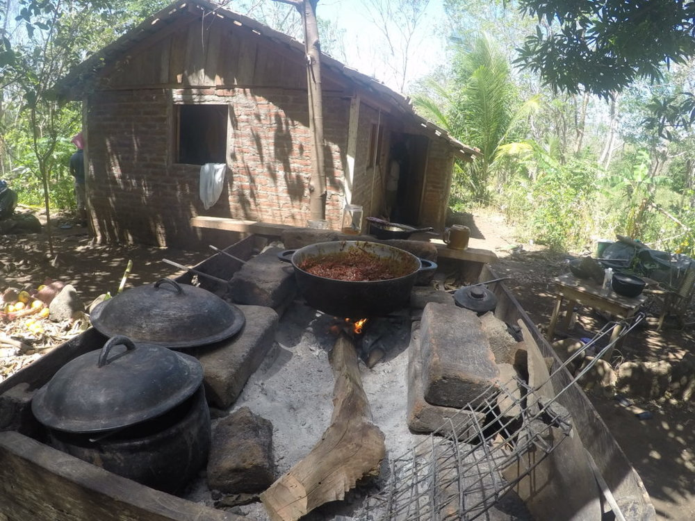 On Ometepe Island, Nicaragua, we had a chance to stay with a local family and experience cooking outdoors on wood fire and living in a square, brick house with dirt floors.