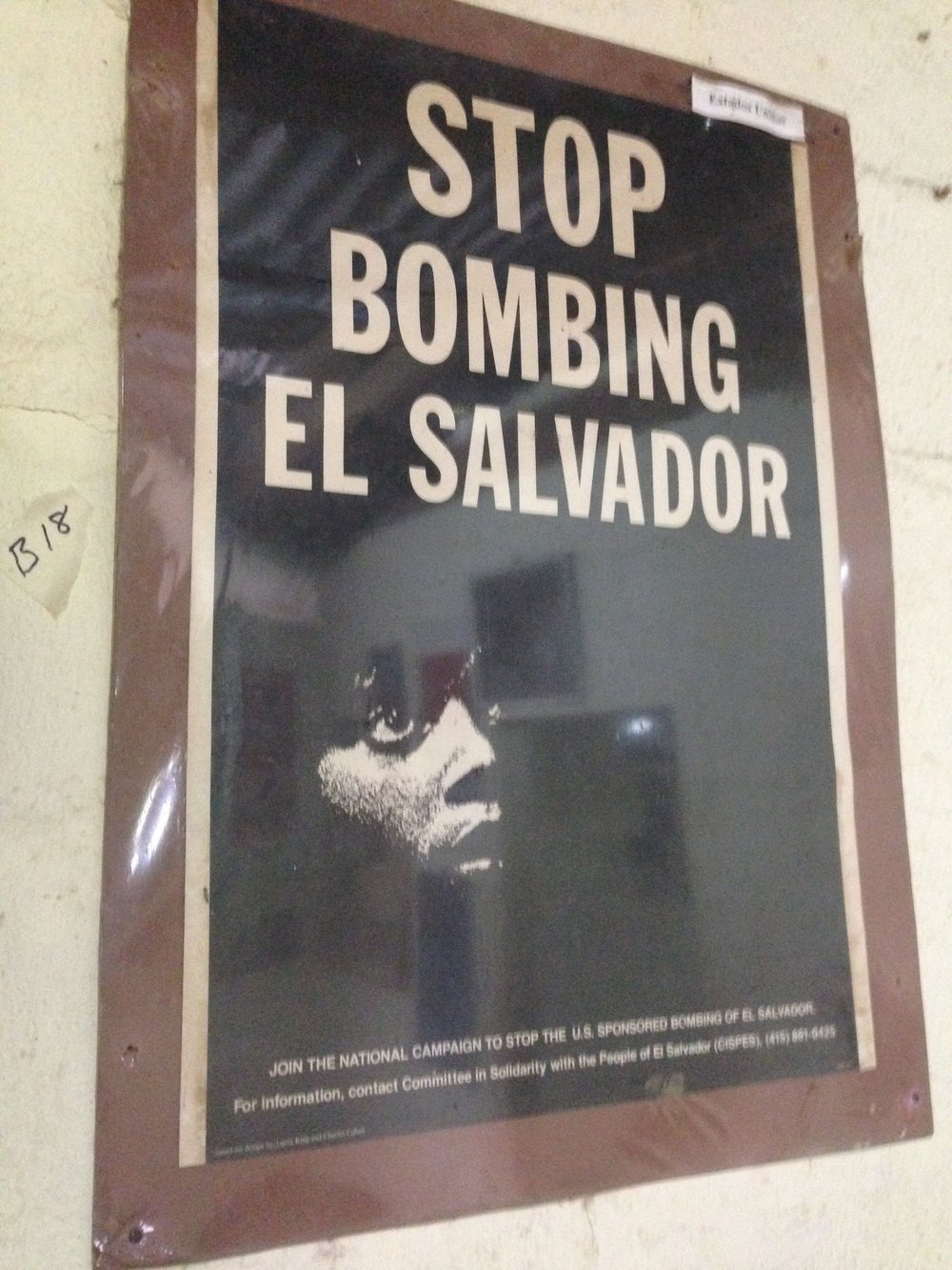 Poster in protest of US sponsored bombing of El Salvador, on display at the Revolution Museum in Perquin.