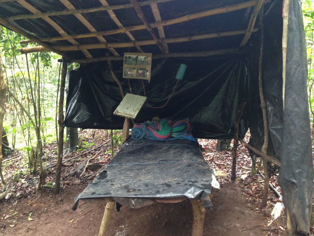 A hospital bed at the re-constructed guerilla camp in Perquin.  Guerillas lived and fought in the jungle-covered mountains of northern El Salvador for 12 years.