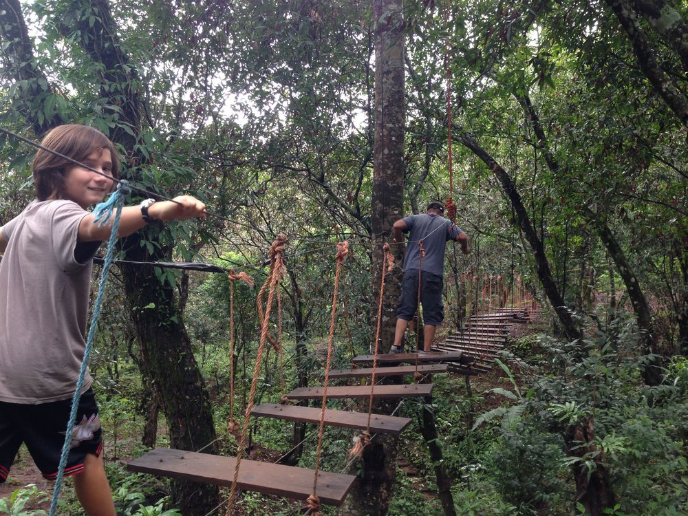The rope bridge traversing the Perquin guerrilla camp has been reinforced since the days that it was in use during the Salvadoran Civil War, 1980-1992.