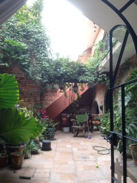 Coconut's room also comes with this view of the courtyard.  It beats the view she had from her Alexandria room of the brick facade of our neighbor's house.  In the background is the outside stairs leading to the second floor.