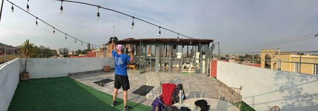 Our gym has a rooftop weight lifting area with a spectacular view of San Miguel's many church steeples.