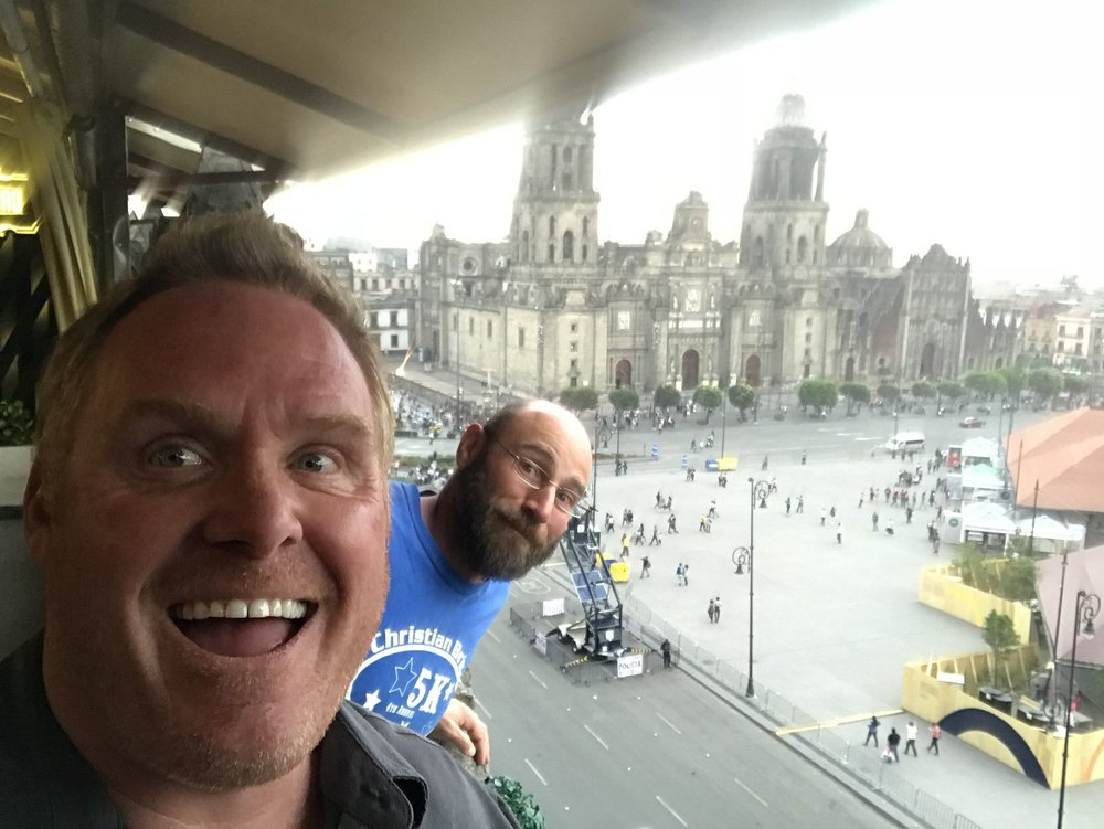 Jim, Paul, and the Catedral Metropolitana, in the  Zocalo  in Mexico City.  Construction on the  catedral  was begun in 1573, just slightly before we were born.