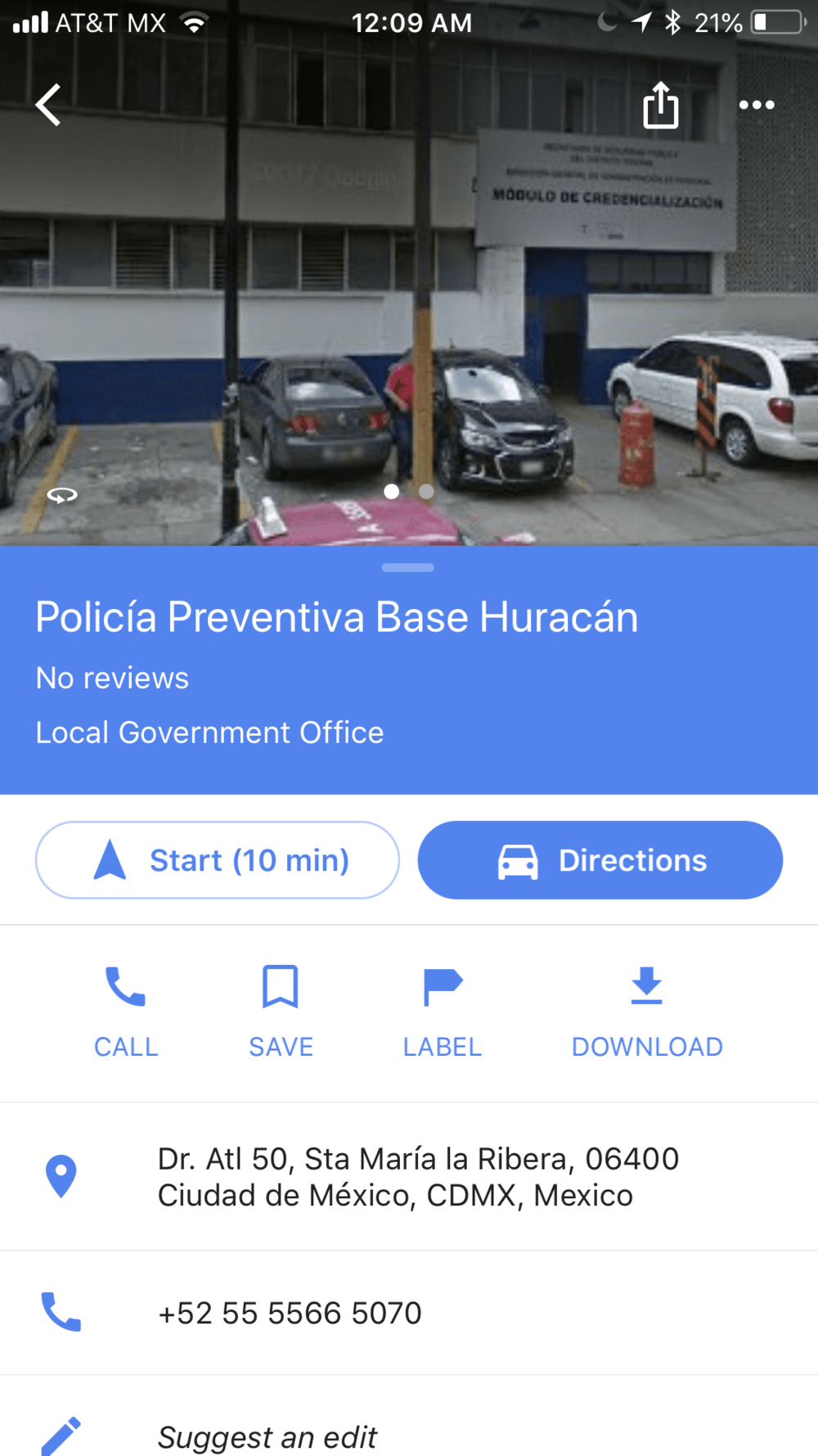 Screen shot of Google Maps and the police station, located at Santa Maria la Rivera, # 37, in Colonia Santa Maria la Rivera.  If I could write a review, it would be this - This place sucks.  It is dirty and the staff is not very hospitable.  Find another place to stay.