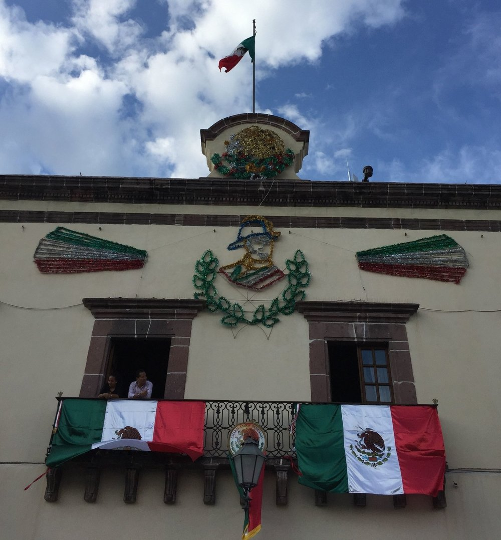 Town Hall in San Miguel de Allende got dressed up in anticipation of Mexican Independence Day on September 16.