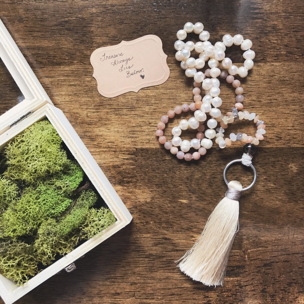 gifts of spirit... - When you purchase your sacred Wild Feminine Rosary, you are getting more than a pretty stone necklace of prayer beads. The opening of your beautiful package is a magical experience all its own. Your beauty will come with free gifts from my heart to yours, including : ✧ a keepsake wooden box ✧ live moss that can be used inside or outside your home spaces ✧ a goddess card for your altar space ✧ a blessed black feather ✧