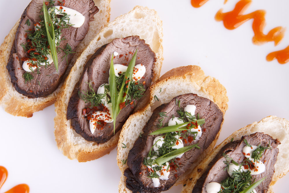 Sliced Tenderloin Crostini