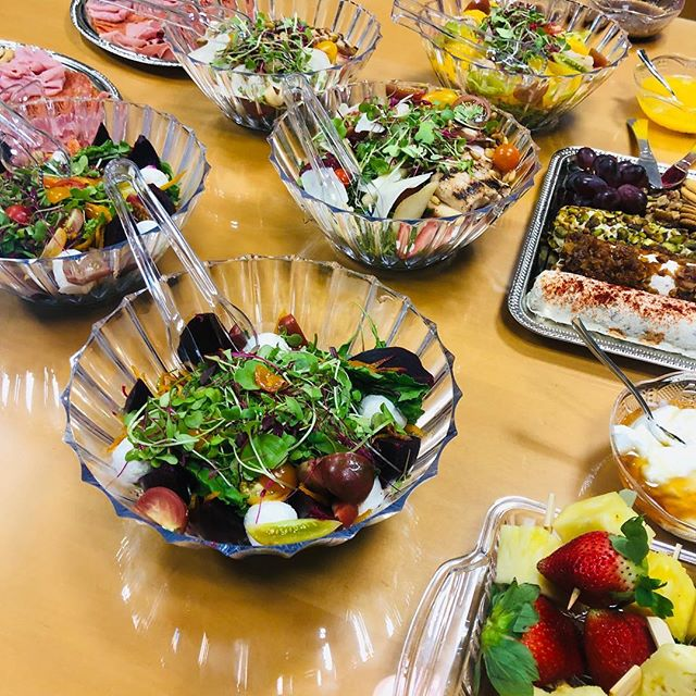 Assorted cheese, fruit, & Mediterranean platters; BOLD ✨ & BEAUTIFUL fresh Salads...we can bring the rainbow 🌈 to your next catered affair!  #catering #tampabay #corporateevents #tampafoodie #tampacatering #weddings #graduation #graduationparty #freshfood #freshproduce