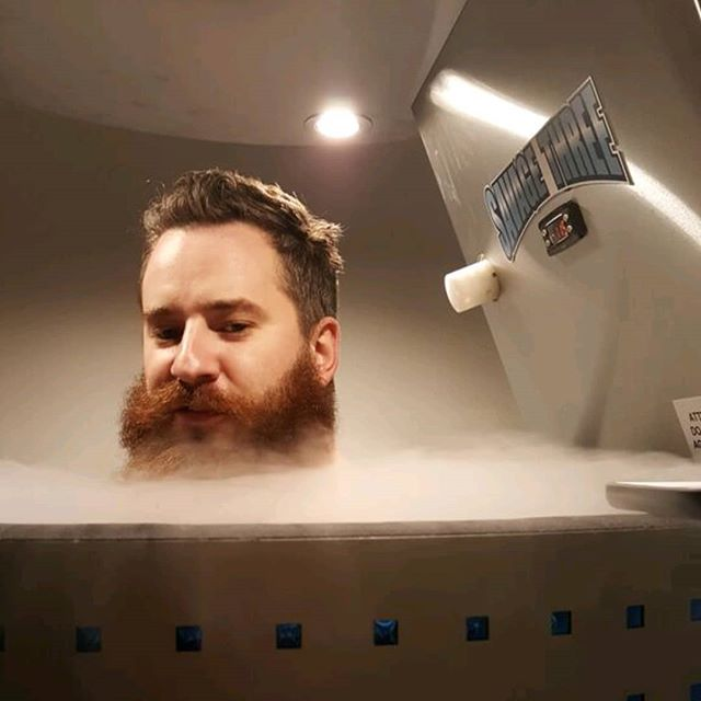 """Someone asked me what Cryo felt like.  In one word I said, """"Magic."""" Group Training + Cryo = Feel Good.  Group Training at 7am 3/29.  #livebetter #feelgood #recover  No #beards were harmed during this cryo session.  Photo courtesy:  @thomas3times"""
