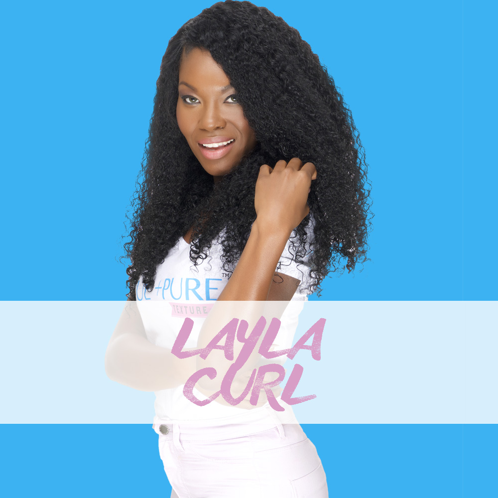 Layla Curl    Afro Kinky Curly  volume and texture at its best! All things glamorous in texture. This curl pattern is very similar to Brazilian Curly Hair with a twist! We Steamed processed our hair to mimic the 4A curl pattern. It's Simply bold and beautiful.