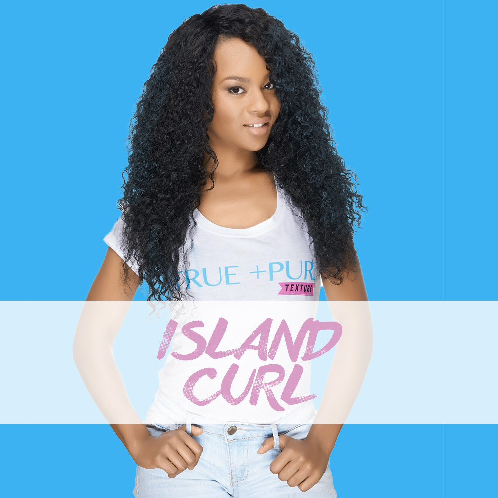 Island Curl:  Steamed for the perfect Deep Wave. provides the perfect balance between a traditional Body Wave and Tighter Texture of hair. This hair offers beautiful thickness and extreme versatility with natural curls that bounce back easily when wet or straightened with heat.