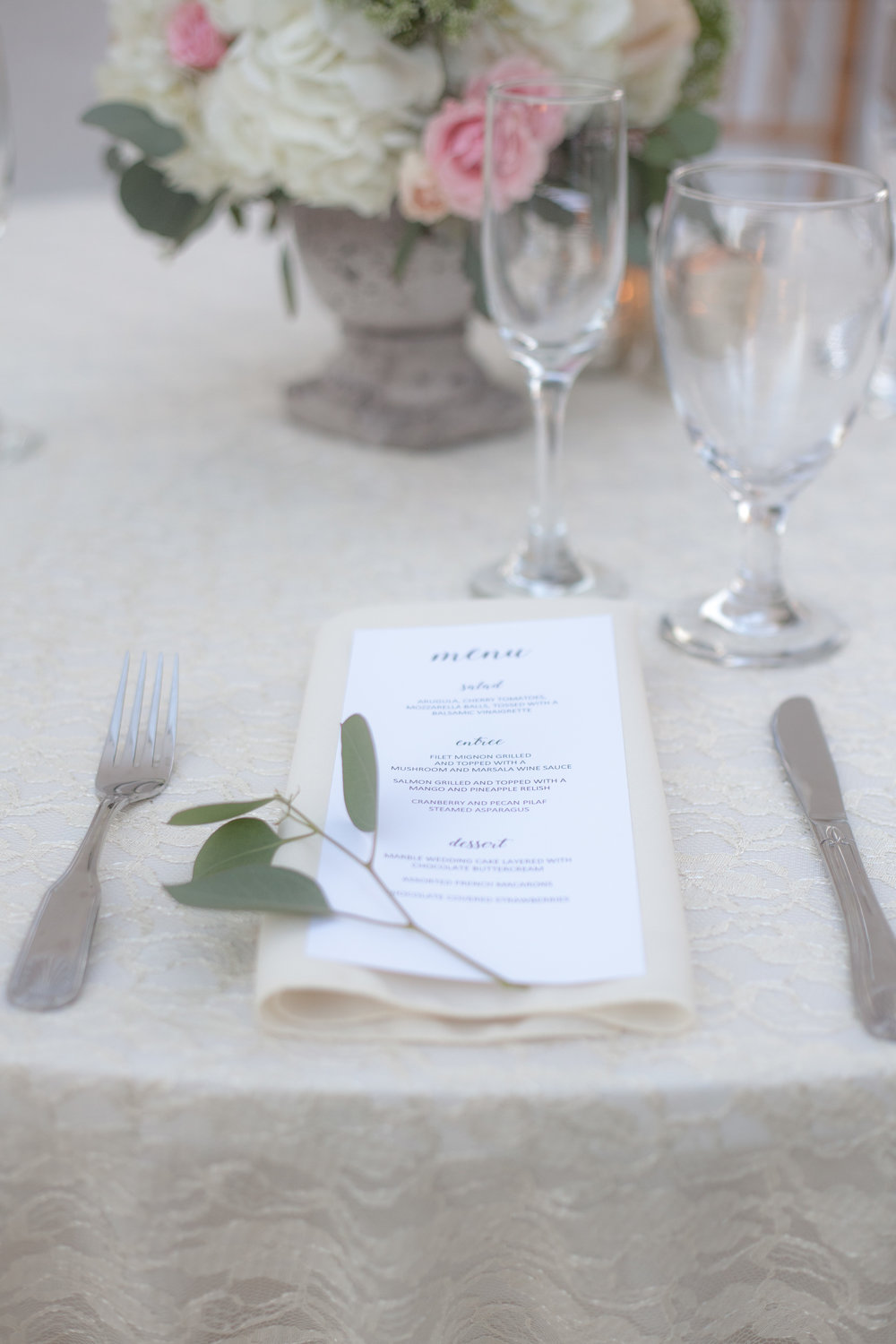This beautiful place setting is lovely for a wedding reception.