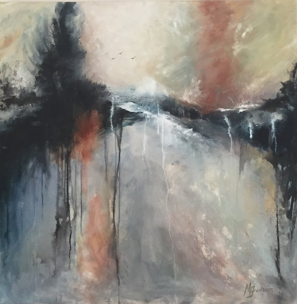 "Peace | 36x36 Acrylic/Acrylic Ink on 1.5"" Deep Edge Gallery Wrapped Canvas"
