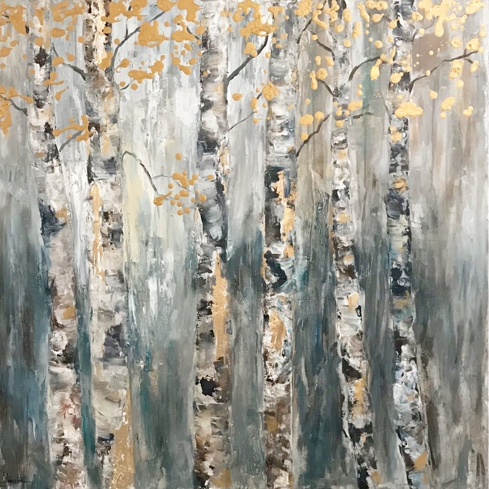 "Trees of Hope | Job 14:7 | 36x36 Acrylic on 1.5"" Deep Edge Gallery Wrapped Canvas"