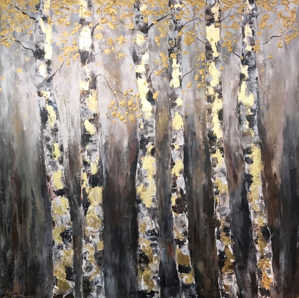 "Trees of Hope II | Job 14:7  |  36x36 Acrylic on 1.5"" Deep Edge Gallery Wrapped Canvas"