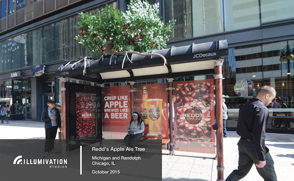 Illumivation Portfolio 2017 Redd's Apple Ale Innovate JCDecaux Shelters Chicago Creative Outdoor Advertising OOH Out of Home Marketing.jpeg