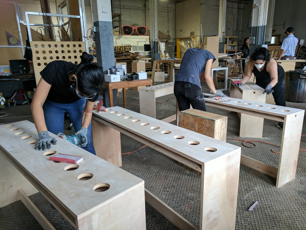 Tea Bar Tables being sanded and prepped for finishing.