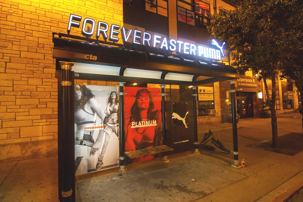 Illumivation Portfolio 2017 Puma Lights Innovate JCDecaux Shelters Chicago Creative Outdoor Advertising OOH Out of Home Marketing.jpg
