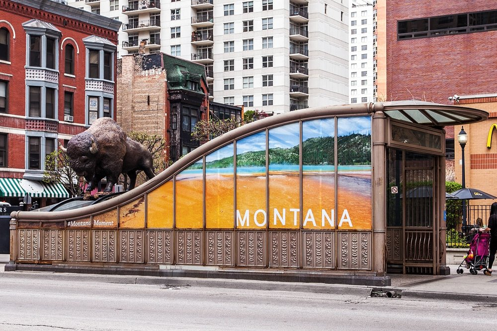Illumivation Portfolio 2017 Montana Intersection Moose Bear Buffalo sculptures Chicago Creative Outdoor Advertising OOH Out of Home Marketing ChicagoState Bison.jpg