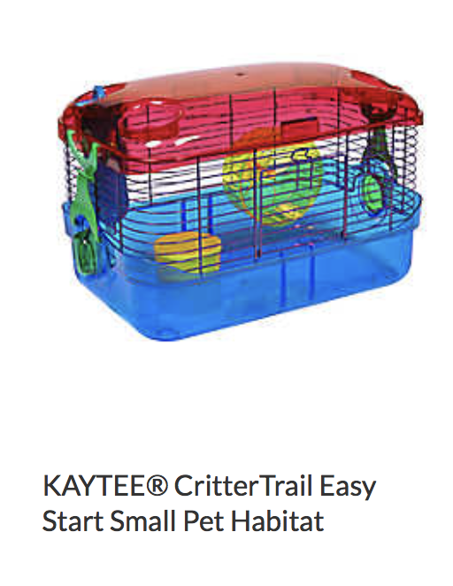 Kaytee CritterTrail Easy Start Small Pet Habitat - Not appropriate size wise for rats.  Fine as a carrier if wheel is removed.