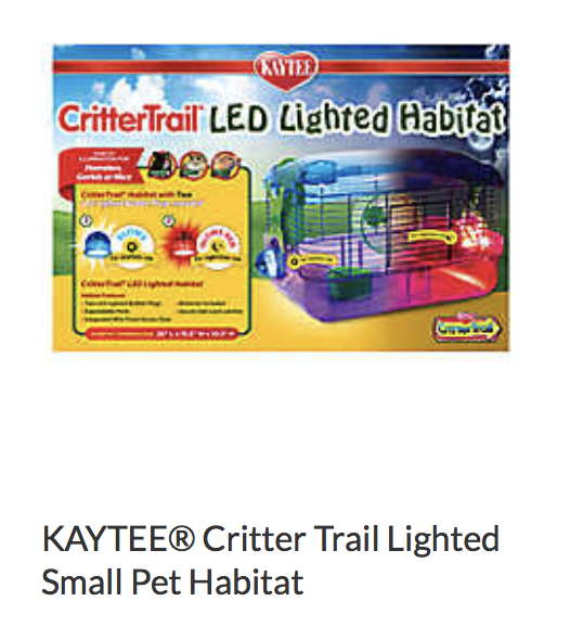 Kaytee Critter Trail Lighted Small Pet Habitat - Not appropriate size wise for rats. Not appropriate as a carrier.