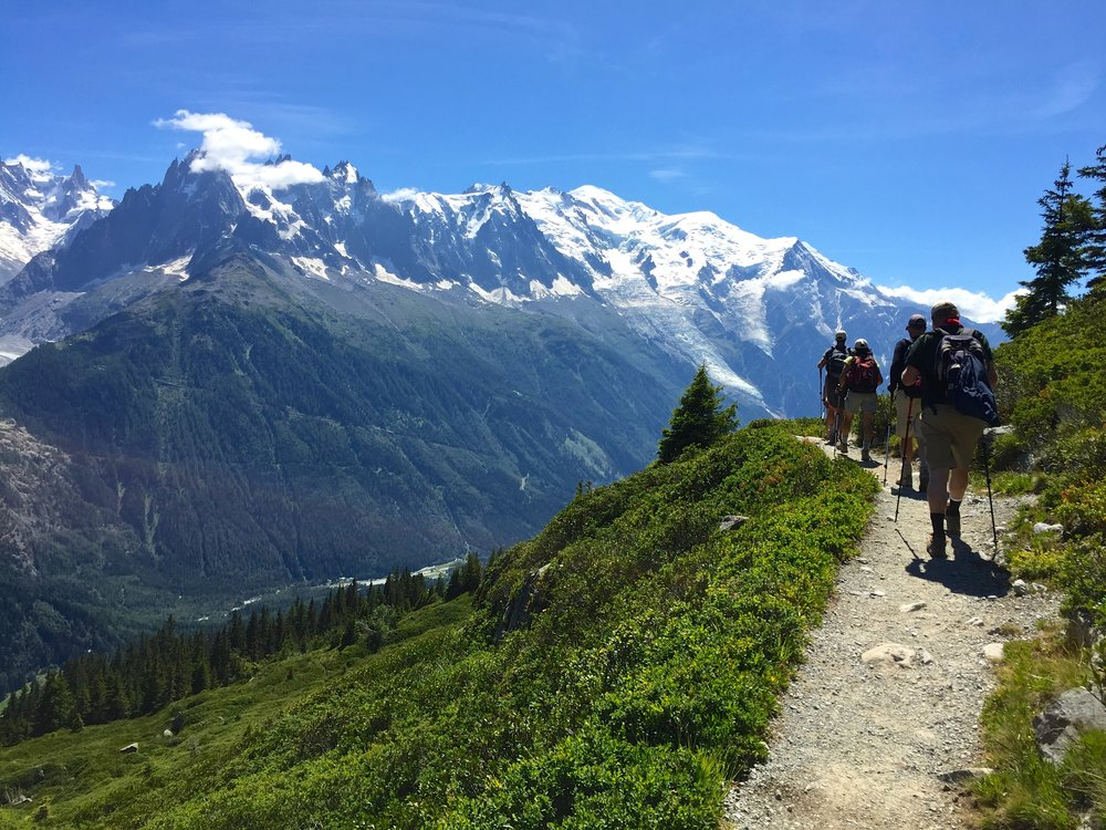 Hiking back to Chamonix on the last day of the Tour du Mont Blanc. To the left are the Needles, and dead ahead is Mont Blanc.