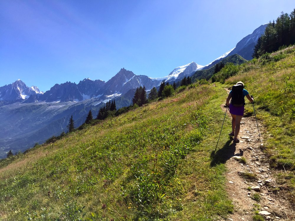 Our guide, Flo, leads us up and out of the Chamonix Valley from our start in Les Houches.