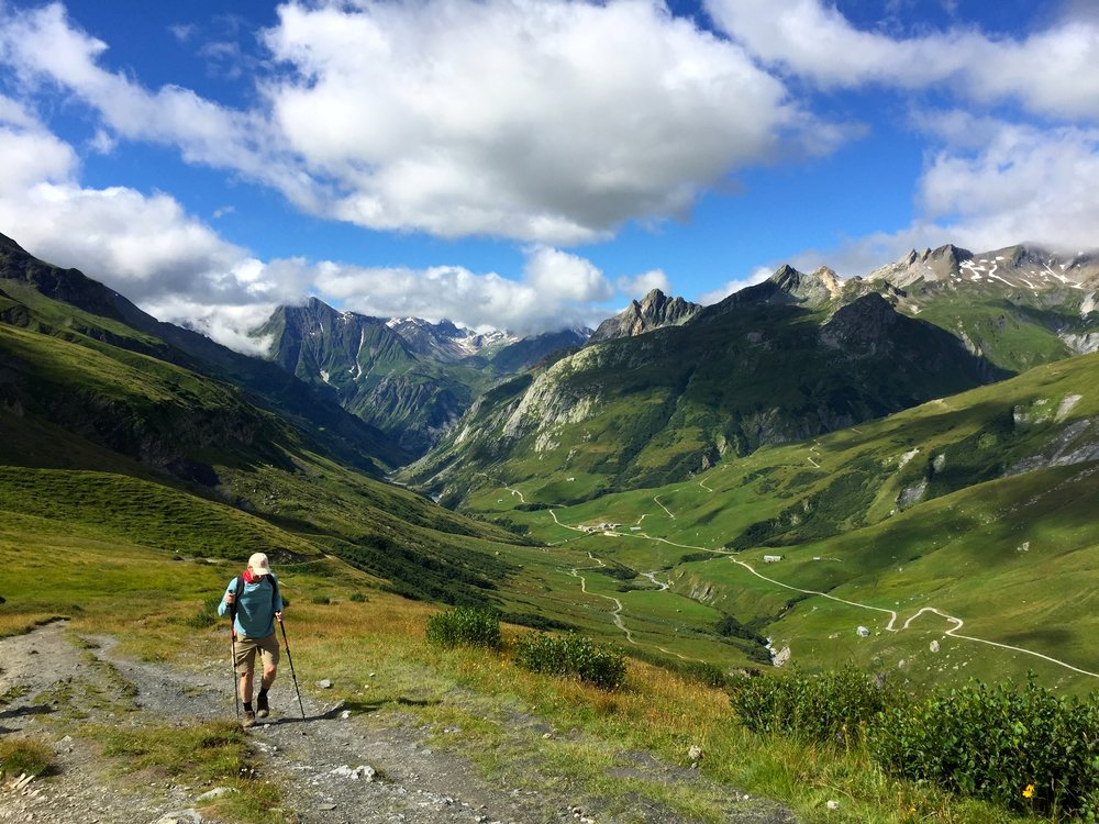 My friend Andrew climbs out of Champieux and the Vallee des Glaciers towards Col de la Seigne where we will cross into Italy.