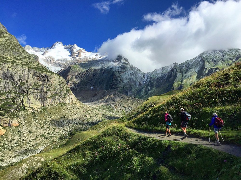 Hiking out of Courmayeur and up towards Grand Col Ferret where we will leave Italy and enter Switzerland.