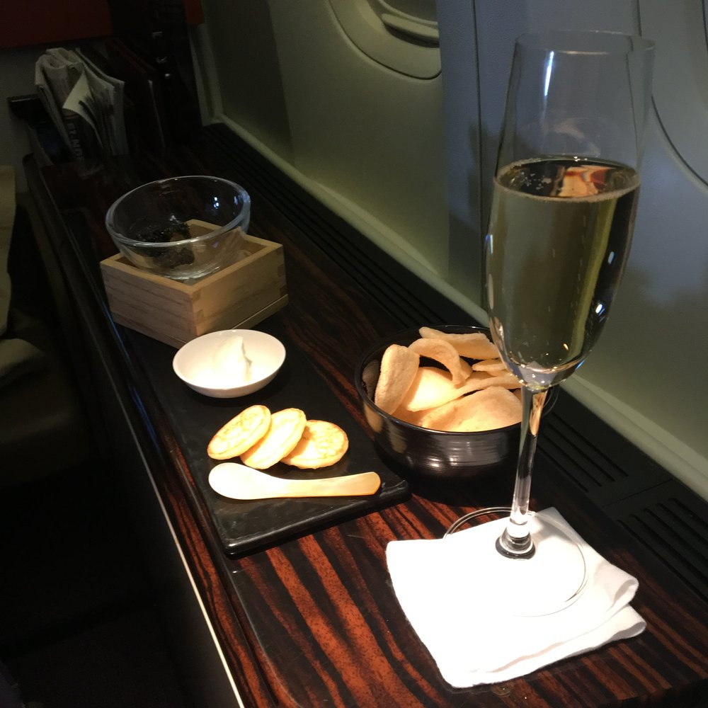 Champagne and caviar. Nothing like a little first class luxury.