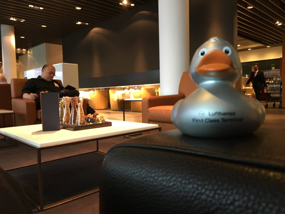 Lufthansa has become known for their First Class Terminal souvenir ducks.