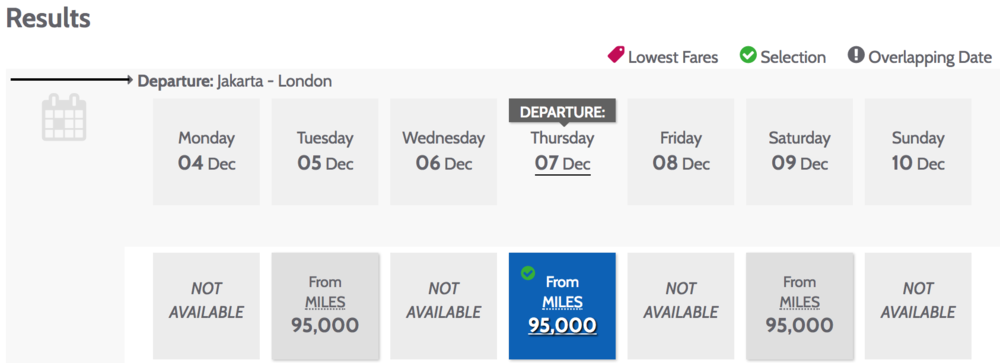 First class awards on Garuda Indonesia usually cost 180,000 Garuda Miles (or Citi ThankYou Points) for a flight between London (LHR) and Jakarta (CGK), but the promo rate is 95,000 miles.