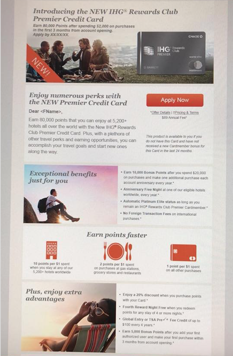 New chase ihg premier credit credit has an annual free night hot a friend of mine from award travel 101 just shared this screenshot that reviews the details of the new ihg rewards club premier credit card colourmoves