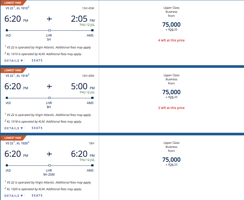 Delta SkyMiles Award Cost Washington to Amsterdam.png