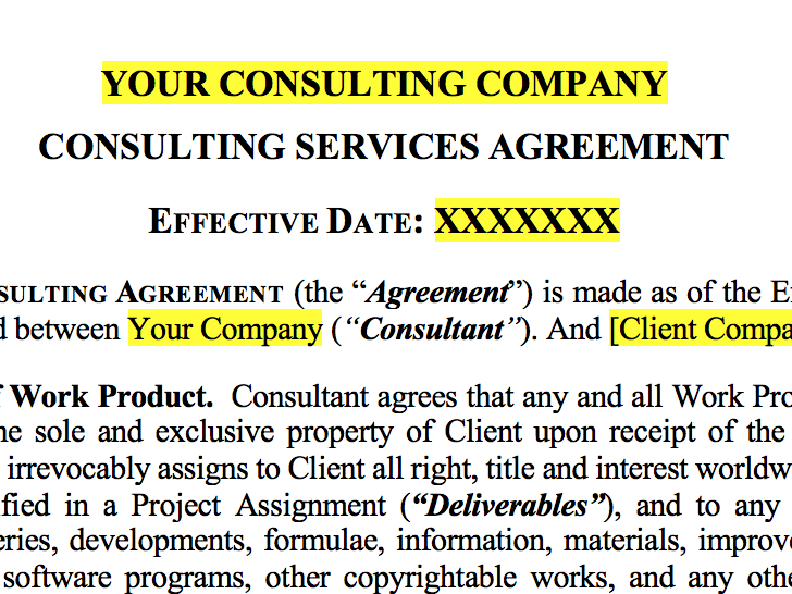Lightweight Consulting Agreement Embedded Artistry
