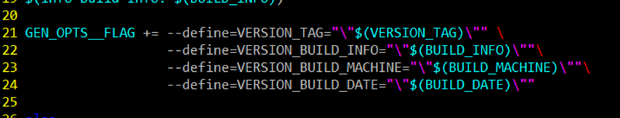 Appending new symbol definitions to the  GEN_OPTS__FLAG  inside  makefile.defs.