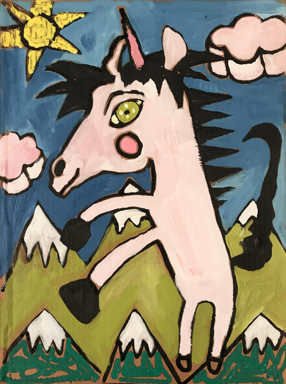 Study for Unicorn Cartoon (in the mountains)