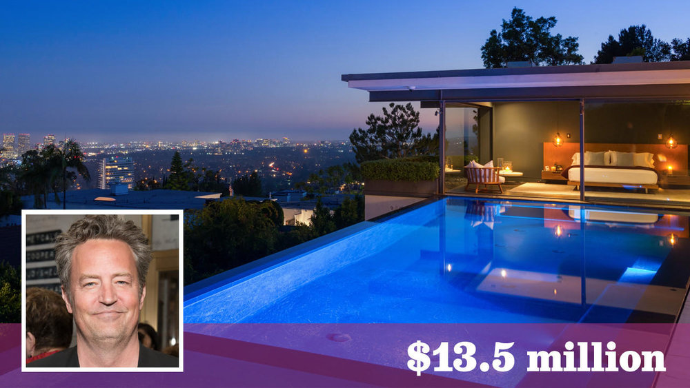Actor Matthew Perry has listed his home in the Bird Streets of Hollywood Hills West for sale at $13.5 million. (Michael McNamara / Shooting LA | Inset: Getty Images)