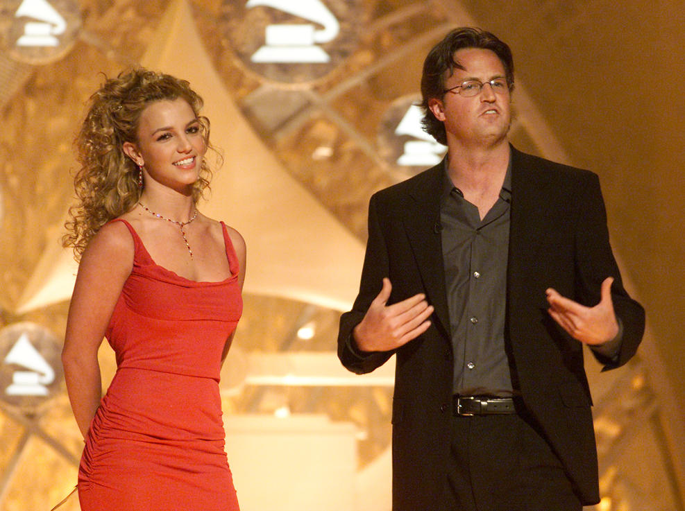 Getty Images.  Britney Spears and Matthew Perry at the 44th Annual Grammy Awards held at the Staples Center In Los Angeles, Feb. 27, 2002.