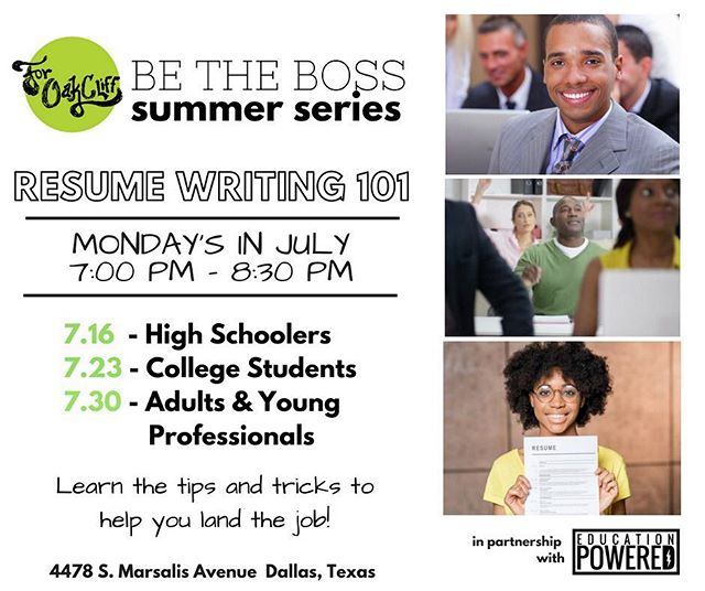 ATTN: All High Schoolers, College Students, Adults & Young Professionals! Do you want your resume POPPIN! Do you want to ELEVATE your skills and make sure employers are calling you NONSTOP! It is GODS PLAN that @thechelseajones @educationpowered and @4oakcliff are hosting Resume Writing 101 in DALLAS, TX! ✊🏾🔥⚡️