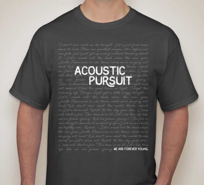 "Some custom t-shirts we designed for Acoustic Pursuit. The design features all the lyrics to ""Forever Young""."