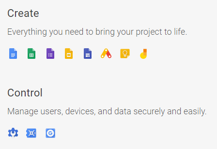 G Suite give you tools to bring your project to life and allows you to securely manage users, devices and data securely.