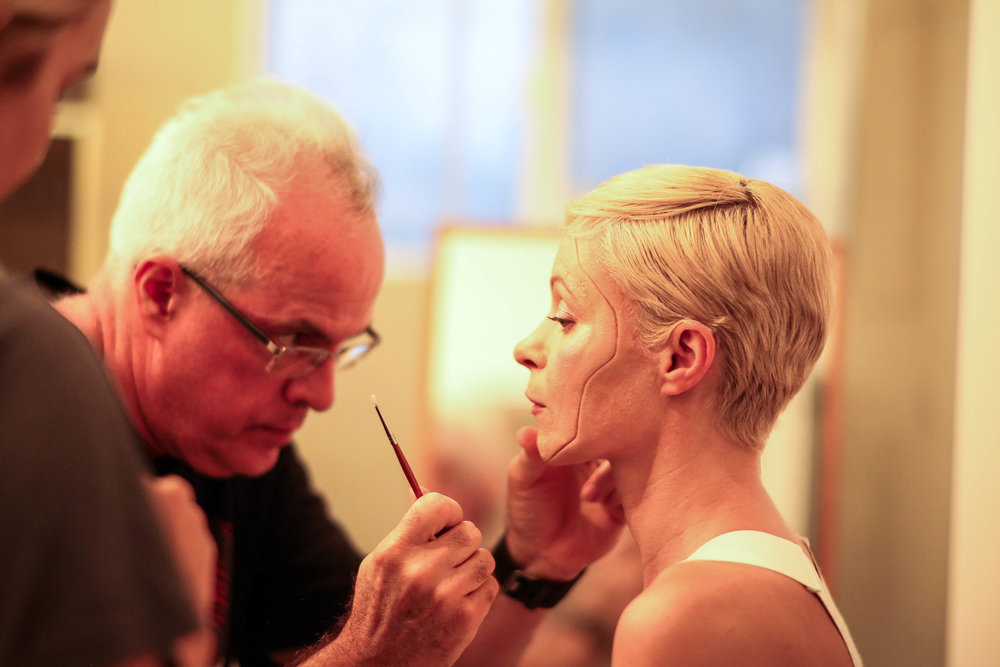 Legendary SPFX Makeup Artist Bart Mixon works on Kestrel Leah's prosthetic piece. Photo credit Di Wei.