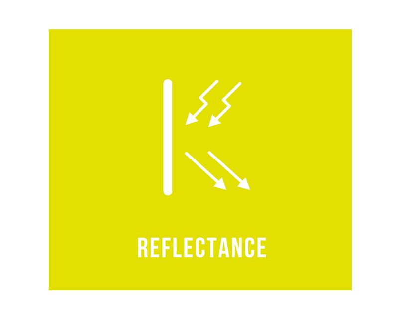 反射   / REFLECTANCE   製品は当てられた光に対して同方向へ反射をします。たとえば、車のヘッドライトが歩行者を照らした場合、運転席・助手席のみから反射を確認できるようになっています。