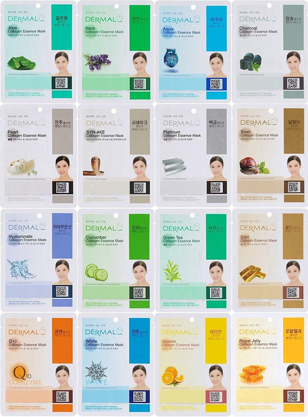 Dermal Korea Collagen Essence Full Face Facial Mask Sheet, 16 Combo Pack ($10)