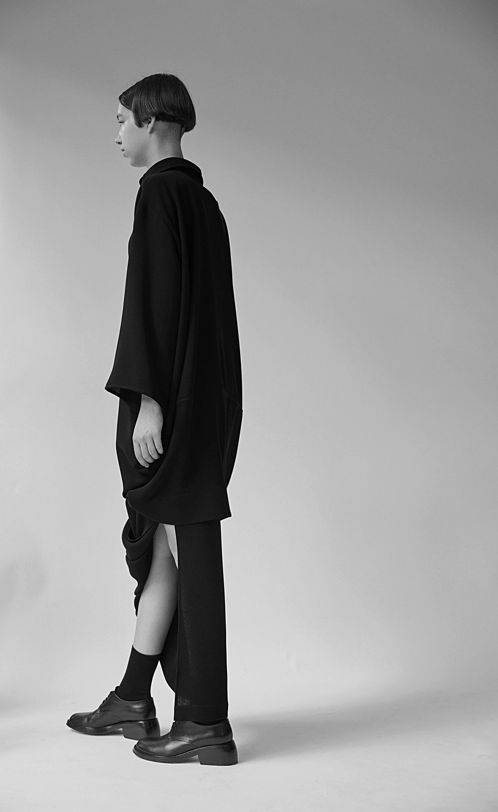KOONING   draped shirt and   CY   asymmetric skirt in BLACK
