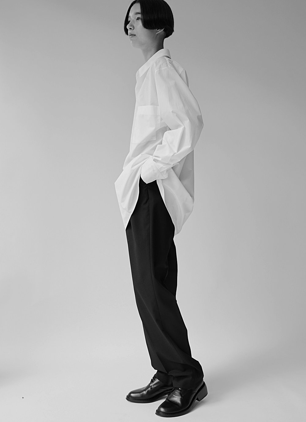 KATZ   asymmetric collar shirt in WHITE and HEPWORTH pleated trousers in BLACK